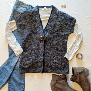 Short Sleeve Navy Marled Buckle Front Sweater